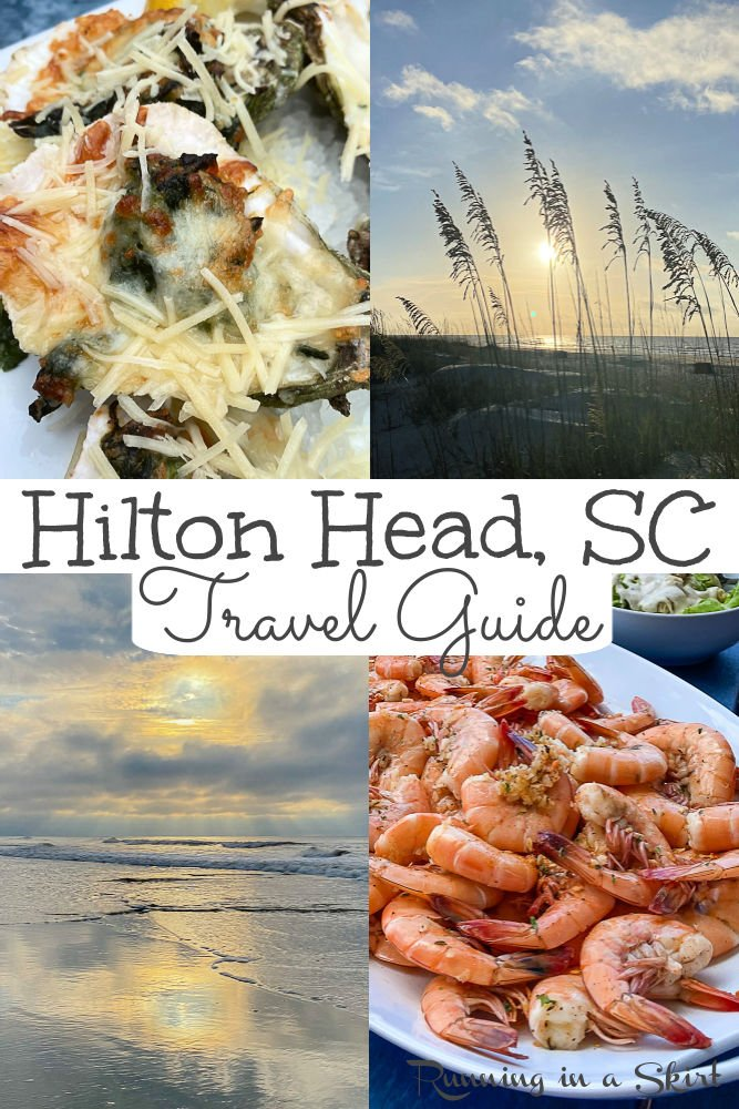 Hilton Head Island Travel Guide- Things to Do & What to Eat and Local Secrets to visit this South Carolina Island. Complete guide including the best activities for couples or kids (beach, pools, biking.) Also includes the best restaurants / food and where to stay (rentals, hotels & resorts) with details on each of the neighborhoods/ plantations (Sea Pines, Palmetto Dunes or Coligny) / Running in a Skirt #travelblogger #sctravel #hiltonhead #hiltonheadisland via @juliewunder