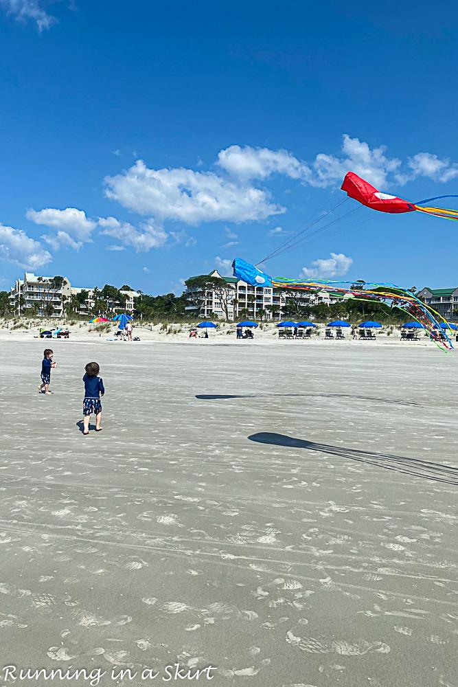 Hilton Head Island flying kites.