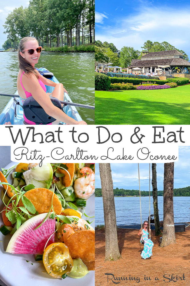 Ritz-Carlton Reynolds, Lake Oconee GA - What to Do & Eat including best activities (swimming, biking, kayaking) and restaurants at this luxury Georgia resort in Greensboro on Reynolds Plantation. Includes resort review of this Ritz Carlton hotel which is one of the best resorts in Georgia! Travel, Travel Blogger / Running in a Skirt #travel #travelblogger #GAtravel #SEtravel #resortreview via @juliewunder