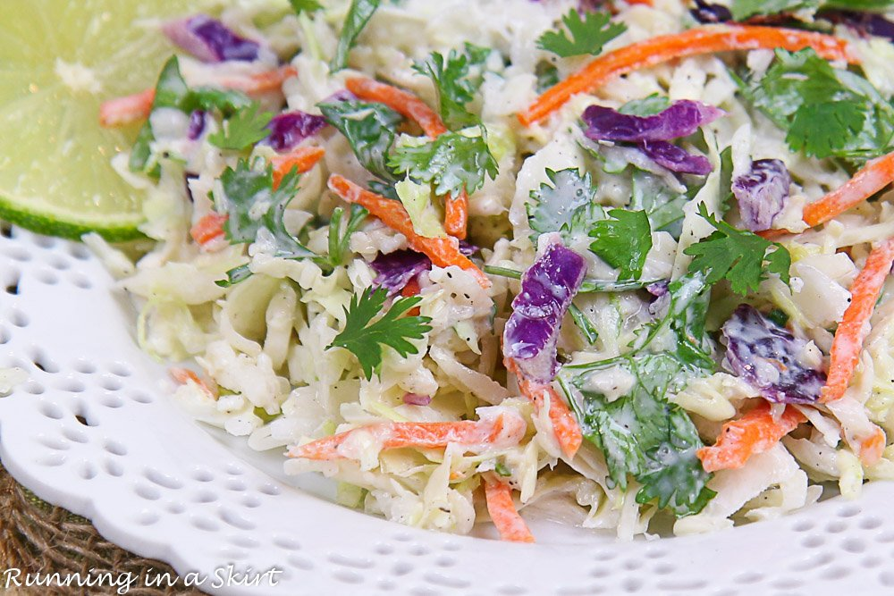 Close up of the Cilantro Lime Coleslaw on a white plate.