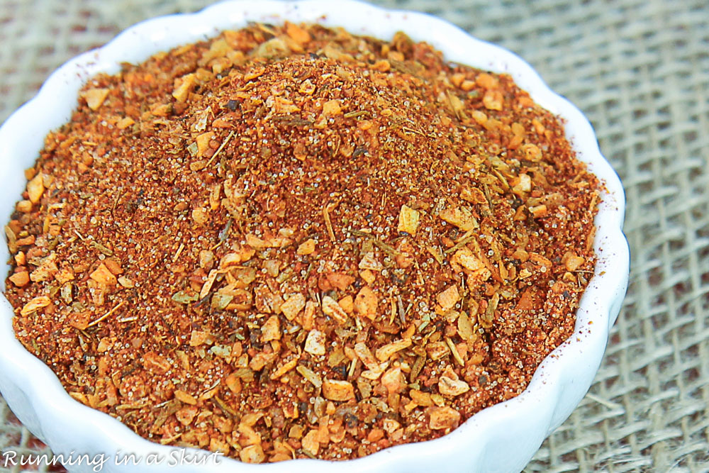 Close up of the Cajun Seasoning Spice Mix in a white bowl.