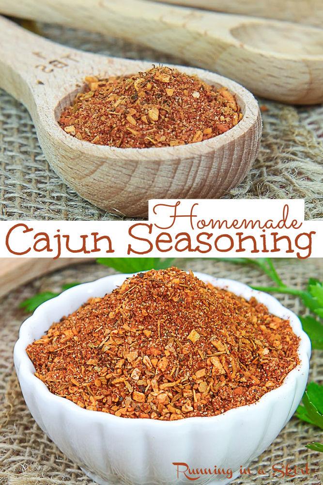 Homemade Cajun Seasoning Spice Mix Recipe - Easy DIY Spice Mixes or Cajun Spice Blend for Cajun dishes, seafood, Louisana recipes including cajun recipes, seafood boil, chicken breasts, cajun pasta, and shrimp. Similar to Creole seasoning. Vegan, Vegetarian, Gluten Free & Keto / Running in a Skirt #spicemix #homemadeseasoning #cajun #creole #louisanacooking #healthy via @juliewunder