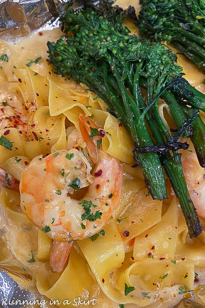 The Wine Bar in Destin fresh shrimp pasta.