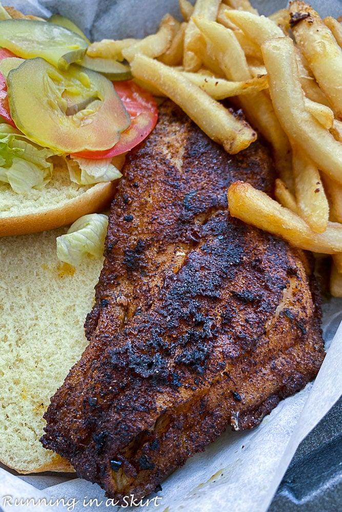 Kenny D's Destin Florida - Blackened Grouper Sandwich