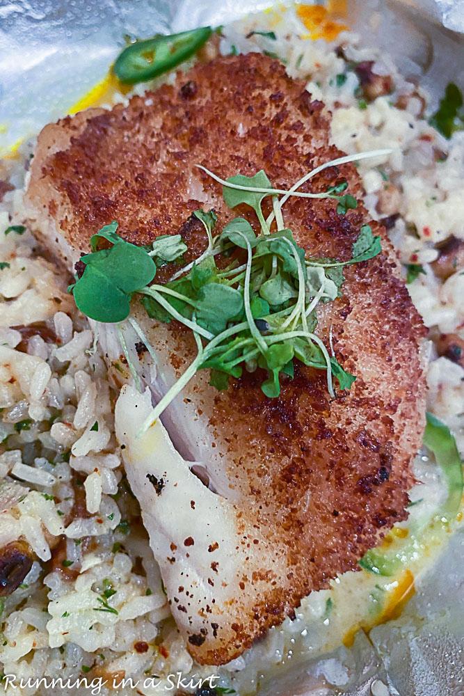 Best restaurants in Destin FL - The Wine Bar - Manchego Crusted Fish