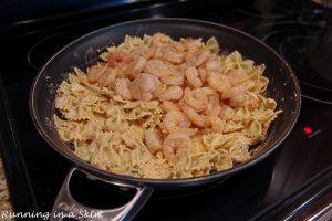 Process photos showing how to combine the dish into Cajun Shrimp Pasta.