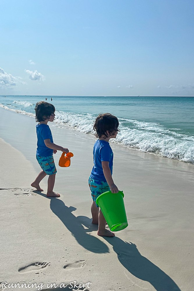 Destin Florida beaches with toddler in the sand.