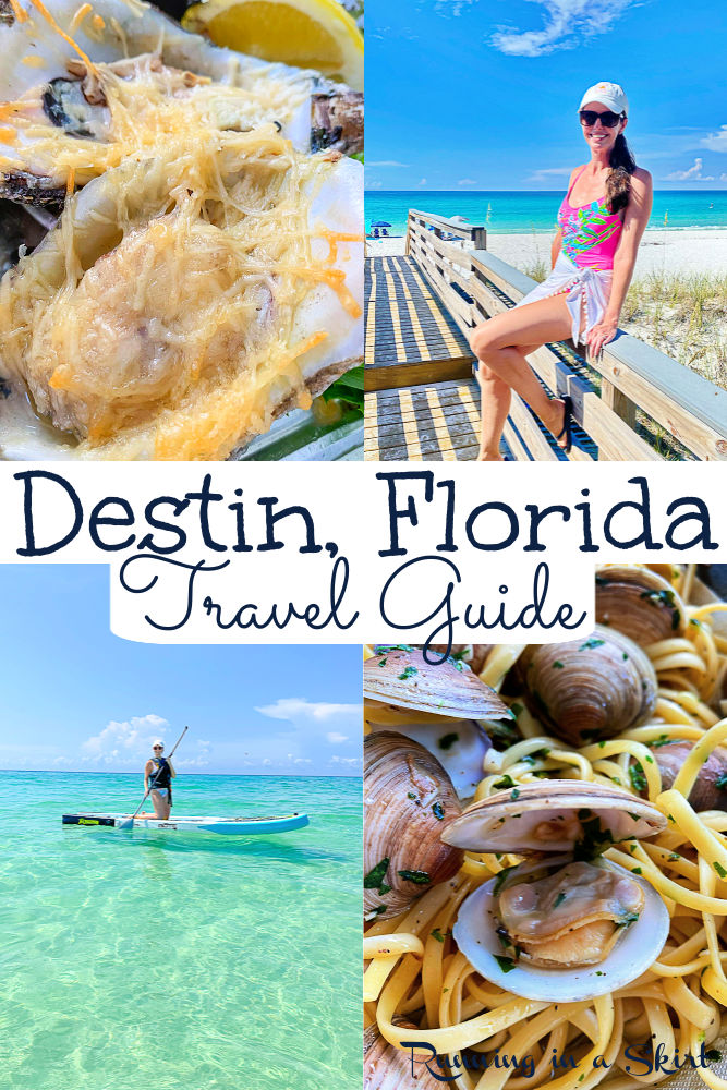 Destin Florida Travel Guide - Things to Do, Food - Restaurants to Try & Where to Stay on vacation in this gulf coast Florida beach town. Perfect for families with kids or adults. Includes beach options (sugar white sand and clear blue waters,) crab island, restaurants on the beach, rentals, resorts and fun things to do. Add this best Florida beach to your bucket lists! / Running in a Skirt #floridatravel #destin #destinflorida #floridabeaches #bucketlist #travelguide #travelblogger via @juliewunder
