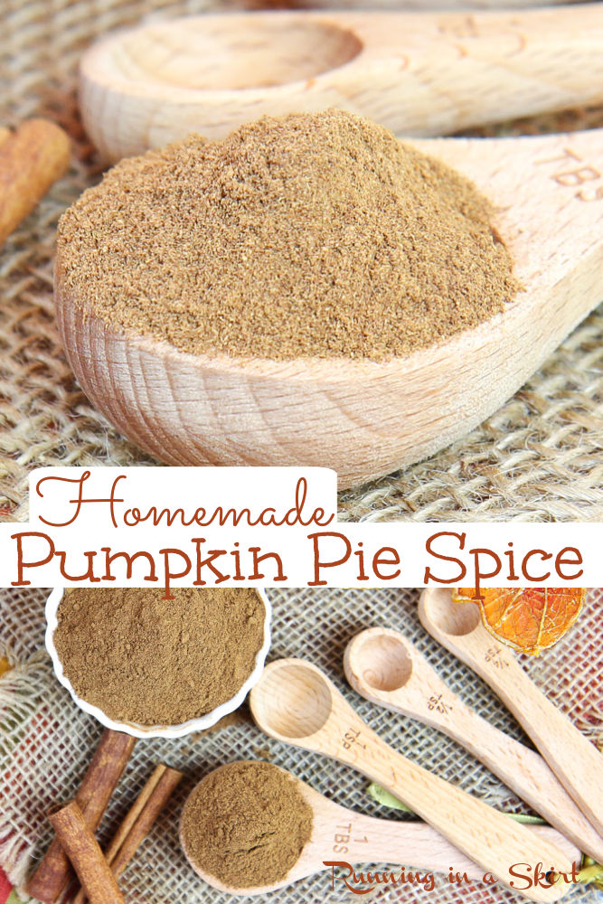 Homemade Pumpkin Pie Spice Recipe - Perfect for baking, desserts, cookies, pumpkin loaf or diy pumpkin spice coffee or creamer. Easy pumpkin spice mix recipe with directions for making a large or small batch. Uses spices you already have like cinnamon, cloves, ginger, nutmeg and allspice. Vegan, Vegetarian, Gluten Free and Keto. / Running in a Skirt #pumpkinspice #pumpkinrecipe #pumpkinpiespice #diy via @juliewunder